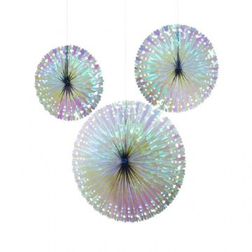 Iridescent Pinwheel Fan Decorations - pack of 3